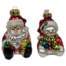 Christmas Ornaments Santa Snowman Set of 2 Hand Colored Details