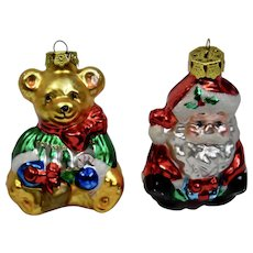 Christmas Ornaments Teddybear Santa Set of 2 Hand Colored Details