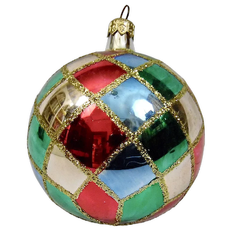 Christmas Ornament Ball Multi Colored Harlequin Style Hand Painted Details