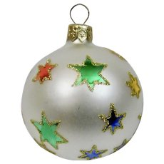 Christmas Ornament Ball Multi Colored Stars Hand Painted Details