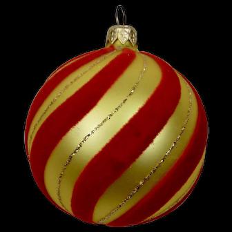 Christmas Ornament Gold Red Velvet Flocked Ball Hand Colored Details