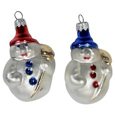 Christmas Ornaments Snowman Pair Hand Colored Details Set of 2