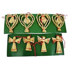 Christmas Ornaments Hand Woven Straw Hearts Angels Motifs Set 8