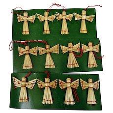 Christmas Ornaments Hand Woven Straw Angels Motif Set 12