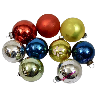 Christmas Ornament Balls Mixed Colored Details Set of 9