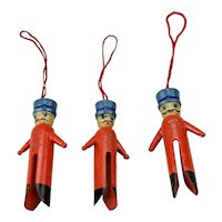 Three Piece Clothes Pin Style Soldier Painted Wood Christmas Ornaments Set