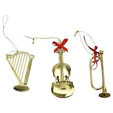 Three Piece Gold Tone Metal Musical Instrument Style Christmas Ornaments Harp Horn Violin
