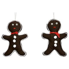 Pair Gingerbread Figure Christmas Ornaments Large Quilted Fabric Forms