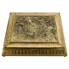 Large French Gilded Bronze Casket Box Velvet Lined With Key Ornate Details Ovington New York c.1920