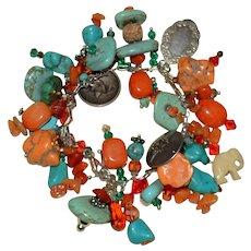 Rare J. Kirk & Son Sterling Silver Turquoise Coral Charm Bracelet
