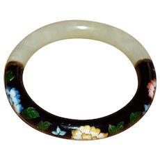 Vintage 1930s Jade Art Deco Black Floral Cloisonne Bracelet