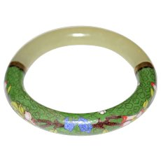 Stunning Vintage Green Jade Cloisonne Bracelet