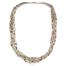Native American Liquid Sterling Silver Red Glass Bead Multi-strand Necklace