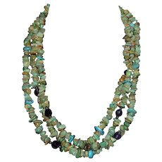 Vintage Santo Domingo Native American Sterling Silver Multi-strand Turquoise Amethyst Necklace