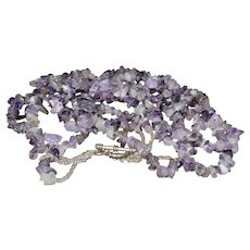 Vintage Native American Purple Amethyst Triple Strand Necklace