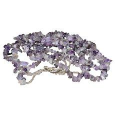 Vintage Native American purple Amethyst multi-strand seed bead necklace