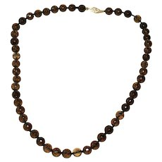 Stunning 14k Gold 170 ct Faceted Smoky Quartz Cairngorm Necklace