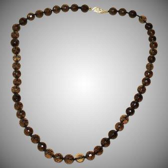 Stunning 14k Gold 170 ct Faceted Smoky Quartz Cairngorm Necklace