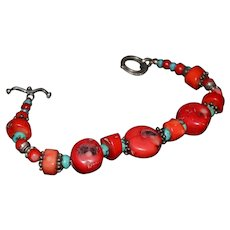 Stunning Native American Chunky Red Coral Turquoise Bracelet