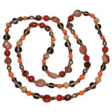 Native American Carnelian Agate Carved Bead Necklace