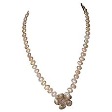 Native American Sterling Silver Flower Pearl Statement Necklace