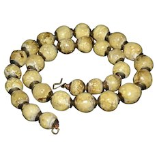 Old Vintage Tibetan Natural Beige Large Agate Stone Round Bead Necklace