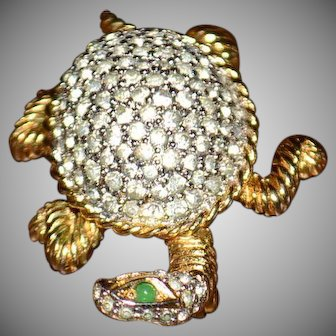 Nettie Rosenstein Paved Rhinestone Turtle Pin Brooch
