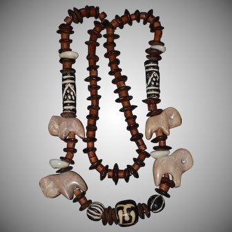 Carved Stone Elephants Beads Tribal Necklace