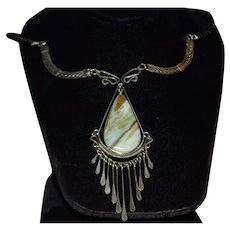 Unique Amazonite Stone Silver Tone Dangle Statement Necklace