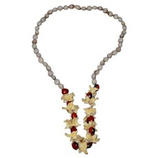 Vintage Tribal Vertebrae Bead Boho Statement Necklace