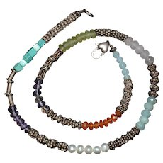 Southwestern Style, Multiple Gemstone, Pearl, Sterling Silver Necklace