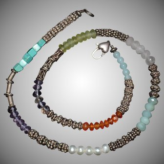 Native American Multiple Gemstone Pearl Sterling Silver Necklace