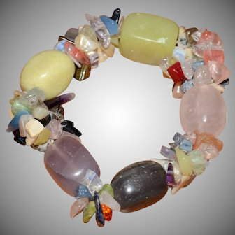 Native American Rainbow Gemstone Chips And Large Stones Chunky Stretch Bracelet