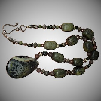 Stunning Jade, Dinosaur Bone and Jasper Gemstone Native American Necklace