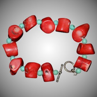 Native American Chunky Red Coral and Turquoise Bracelet