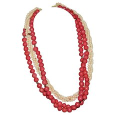 Stunning vintage red and white coral multi-strand necklace