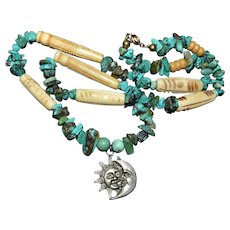 Native American Necklace featuring the gorgeous and coveted vintage Santo Domingo turquoise