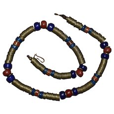 Unique Vintage red & blue Trade Beads / Copper Trade Discs Necklace