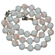 Gorgeous vintage Pink Angel Skin coral necklace