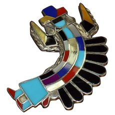Best Vintage Zuni Native American Sterling Silver, Old Pawn, Onyx, Turquoise, Red Coral Pendant / Brooch Pin