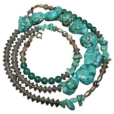 Native American Sterling Silver necklace with Santo Domingo chunky turquoise