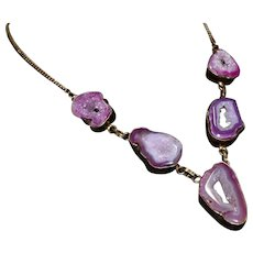 Vintage Amethyst Druzy, Sterling Silver waterfall Necklace