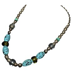 Sterling silver Native American Venetian glass lampwork, trade bead and turquoise necklace