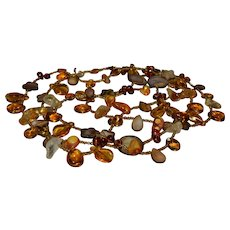 Spectacular 56 inch Native American Baltic amber and gemstone seed bead necklace