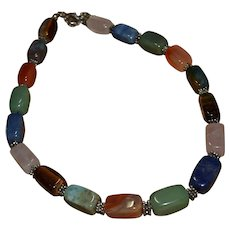 museum quality Native American necklace features tiger's eye, jade, labradite, lapis, turquoise