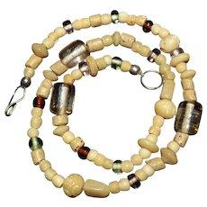 Native American white bone, amber, trade bead strand necklace