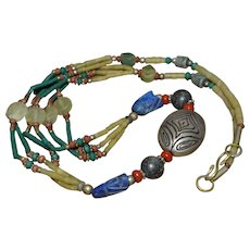 Vintage Santo Domingo Native American sterling silver turquoise, coral, lapis lazuli and heishi necklace