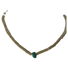 Native American, Santo Domingo old Pueblo heishi shell and turquoise necklace