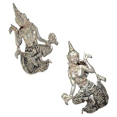 Gorgeous Siamese Siam sterling silver earrings