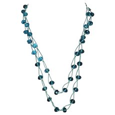 vintage Native American, Swiss Blue Topaz faceted rondelle gemstone knotted strand necklace